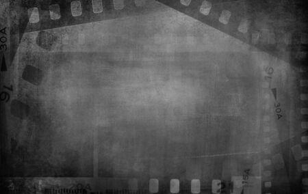 Film negative frames grey background.