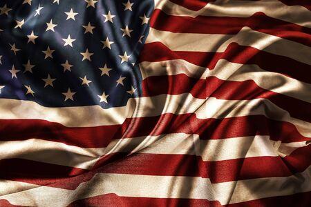 Photo pour Closeup of silky American flag  - image libre de droit