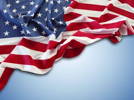 Photo pour American flag on blue background - image libre de droit