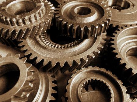 Photo pour Close-up of old metal cog wheels - image libre de droit