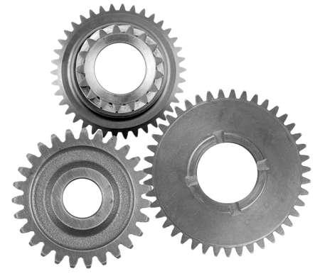 Photo pour Three metal gears on plain background - image libre de droit