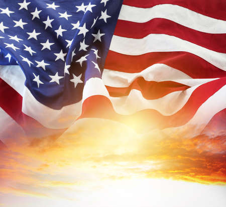 Photo for American flag in sunny sky - Royalty Free Image