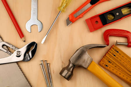 Photo for Assorted work tools on wood - Royalty Free Image