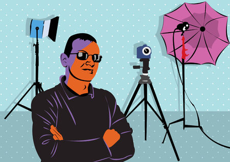 Illustration of a young man posing in photo studio