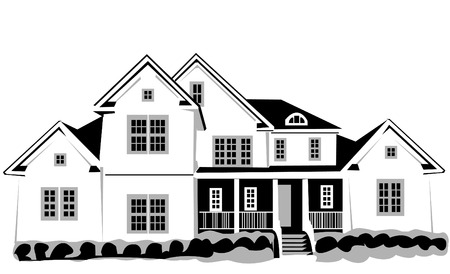 Vector illustration of a big house isolated on white background