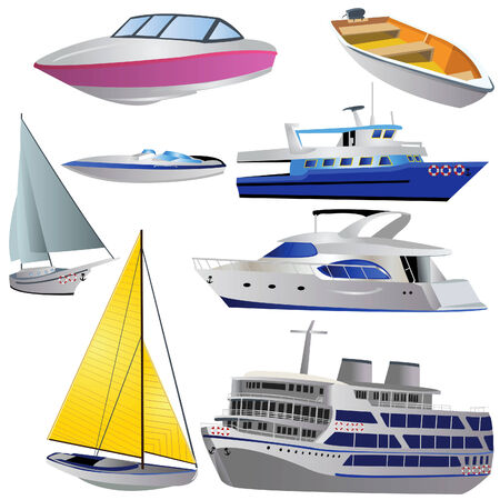 Vector illustration of 8 different boat types isolated on white background.
