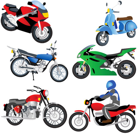 Vector illustration of different motorcycles isolated on white background