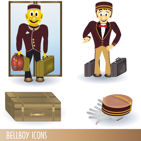Clip-art color collection of four bellboy icons.