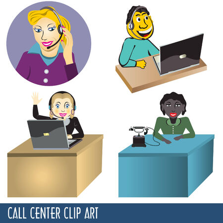 Call center Clip Art collection, four illustrations