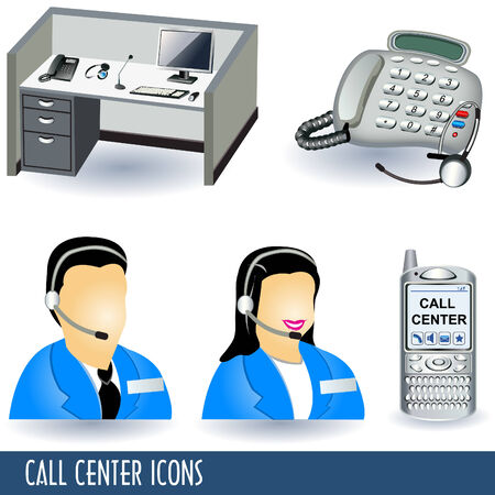 Collection of five call center illustration icons.