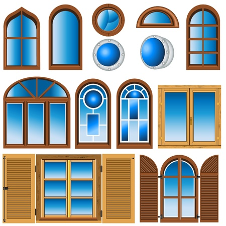 Collection of different type of window illustrations.