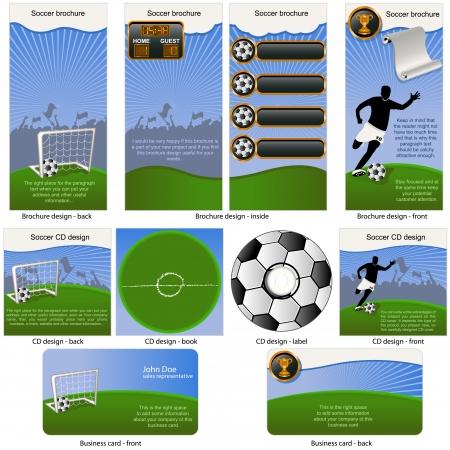 Ilustración de Soccer ball stationary - brochure design, CD cover design and business card design in one package and fully editable  - Imagen libre de derechos