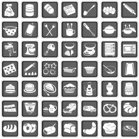A collection of different squared baking icons