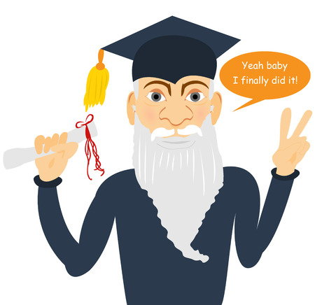 senior man finally graduated