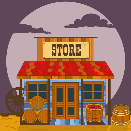 Illustration for Vector illustration of an old west building - store. - Royalty Free Image