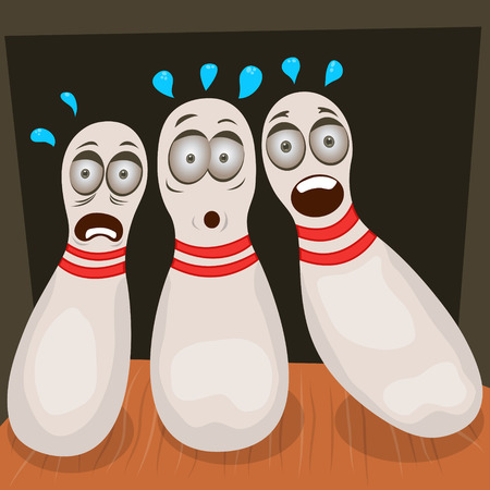 scared bowling pins