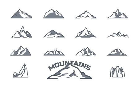 mountain icons set. Line art. Stock vector.