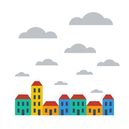 Illustration pour A row of bright colored terraced houses - image libre de droit