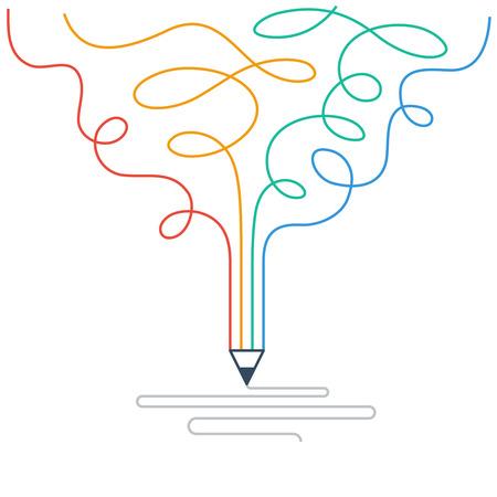 Ilustración de Creative writing. Storytelling. Graphic design studio symbol - Imagen libre de derechos