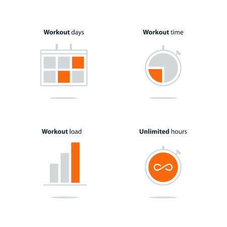 Illustration pour Sports gym, workout session, daily schedule arrangements, icons set - image libre de droit