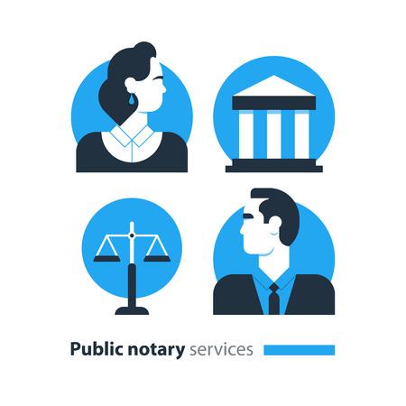 Flat design  illustration. Public notary concept