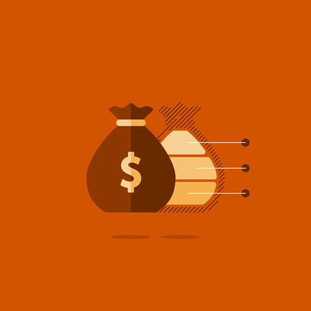 Financial investment plan, money sack icon, interest return, income diversification strategy, pension savings account, budget fund illustration