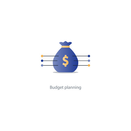 Financial investment plan, money sack icon, interest return, income diversification strategy, pension savings account, budget fund vector illustration