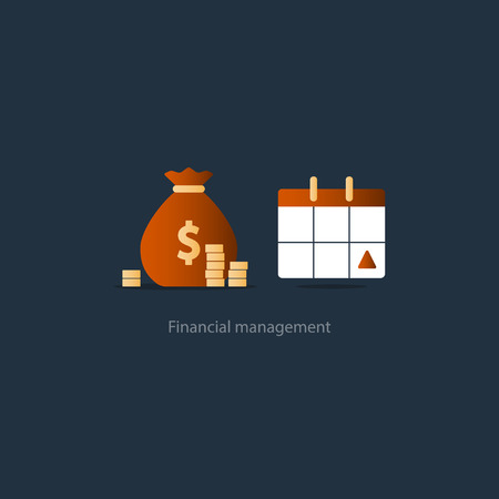 Illustration pour Financial calendar, budget plan, payment schedule, tax pay day, monthly installment, time period, annual money income, vector illustration icon - image libre de droit