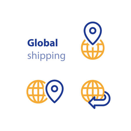 International shipment, global shipping program, delivery services, tracking order, globally transportation business vector line icon