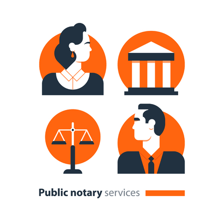 Law services and public notary concept icon set. Court house trial case, justice scales, woman and man. Flat design vector illustration