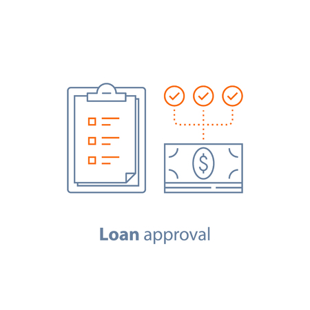 Loan approval, checklist clipboard, insurance policy, payment installment, financial services, vector line icon, thin stroke