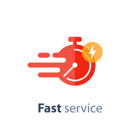 Illustration pour Fast time delivery icon, timely service, stopwatch in motion, deadline concept, vector flat illustration - image libre de droit