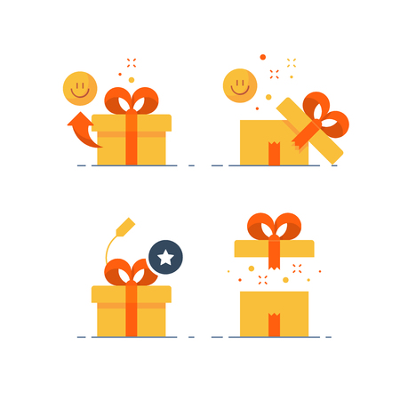 Illustration pour Surprising gift set, prize give away, emotional present, fun experience, unusual gift idea concept, opened yellow box with red ribbon, flat design icon, vector illustration. - image libre de droit
