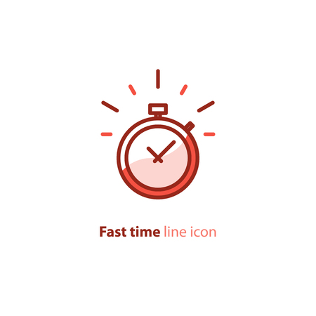 Illustration pour Fast time logo, stop watch speed concept, quick delivery, express and urgent services, deadline and delay, vector line icon - image libre de droit