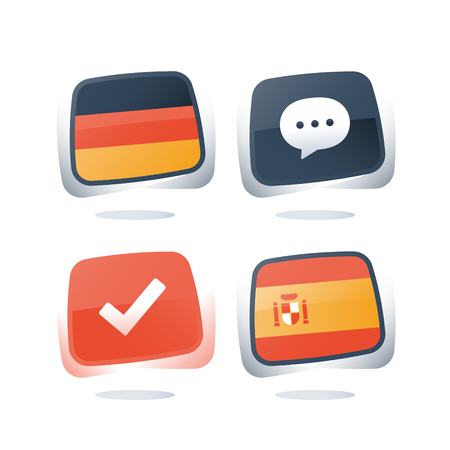 German and Spanish language, flags icons, linguistic learning, online course, enroll button, chat speech bubble, exam and test preparation program, vocabulary improvement, check mark, vector icon set