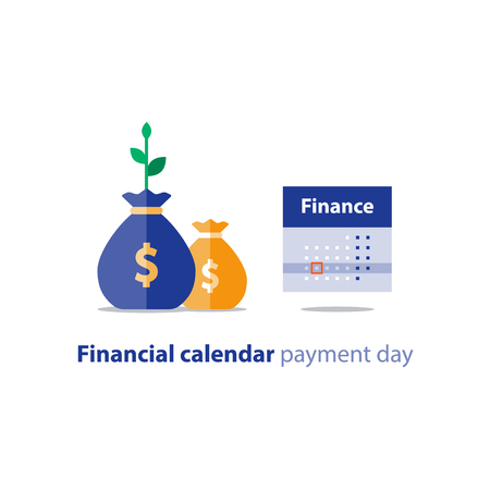 Illustration pour Financial calendar illustration, budget plan, payment bay, finance planner, monthly installment, time period, annual money income, vector icon - image libre de droit