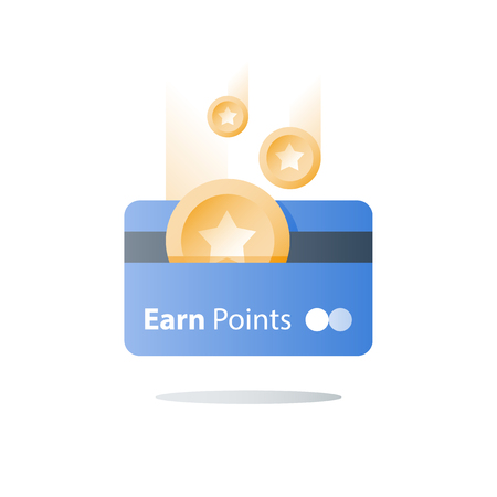 Ilustración de Bonus card, loyalty program, earn reward, redeem gift, perks concept, vector icon, flat illustration - Imagen libre de derechos