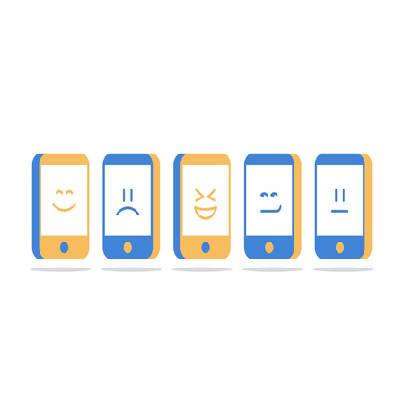 Mobile communication, smartphone screen with emoji, social media interaction, online chat, identity concept, vector icon