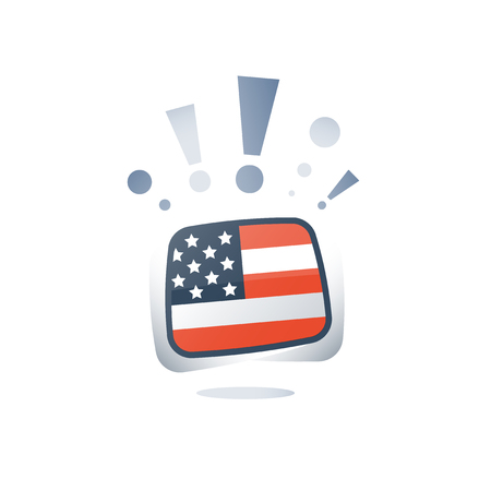 American English language, USA flag, linguistic learning, online course, preparation program, vocabulary improvement, vector flat icon