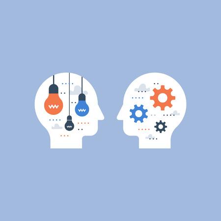 Ilustración de Creative thinking, creativity development, design solution, smart people, inspiration and motivation, positive mindset, vector illustration - Imagen libre de derechos