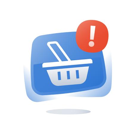 Illustration pour Shop basket, abandoned cart concept, online shopping button, marketing and promotion, limited offer, best deal, loyalty program, sales improvement, vector flat icon - image libre de droit