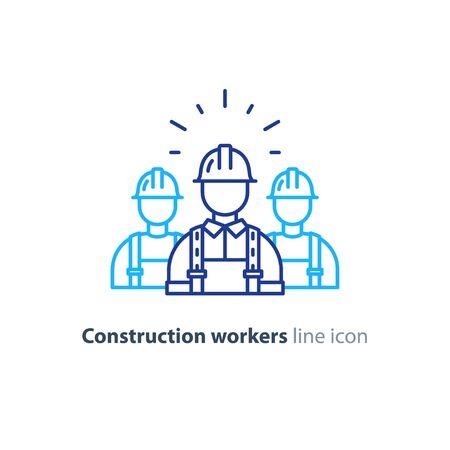 Ilustración de Construction workers in hard hat and jumpsuit, builders in uniform, contractor man, manual labor, vector mono line illustration - Imagen libre de derechos