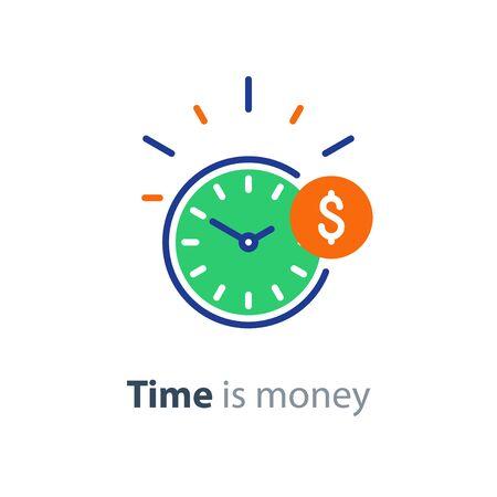 Illustration pour Time is money concept, clock and coin, long term financial investment, superannuation savings, future income, annual revenue, money profit and benefit, vector flat line icon - image libre de droit
