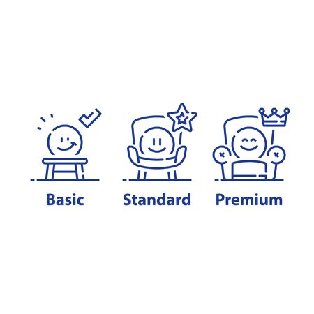 Illustration pour Service upgrade concept, three options, basic subscription, standard account, premium plan, experience improvement, better offer, emoticon in armchair, vector line icon set - image libre de droit