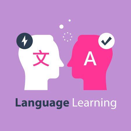 Illustration pour Language learning, translate concept, international communication, linguistics coarse, bilingual tutor, vector flat illustration - image libre de droit
