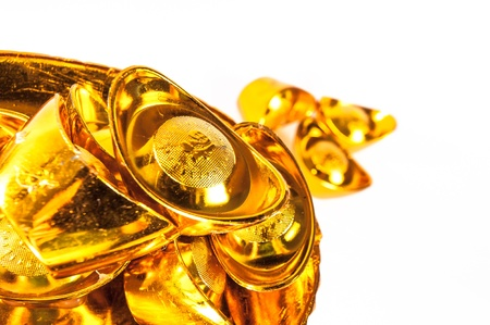 Old Chinese Money in Gold ingot