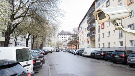 Video surveillance camera installed over vehicle parking