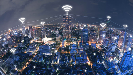Blue high-tech tone of cityscape conneted line with wifi sign, technology concept, internet of things conceptual