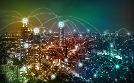 modern city diorama and wireless sensor network, information communication technology conceptual