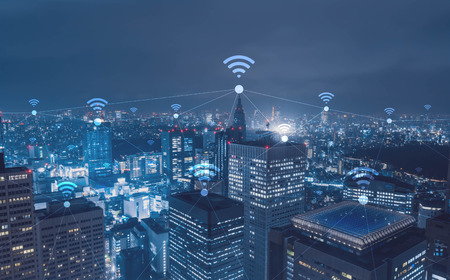 Cityscape with wi-fi connection conceptual,information communication technology concept